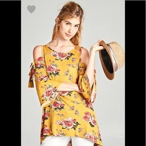 Tops - Yellow Floral Cold-shoulder Top